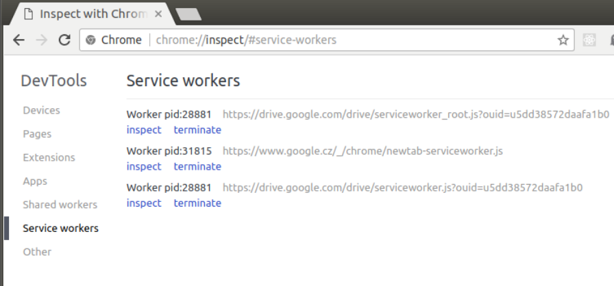Service workers chrome